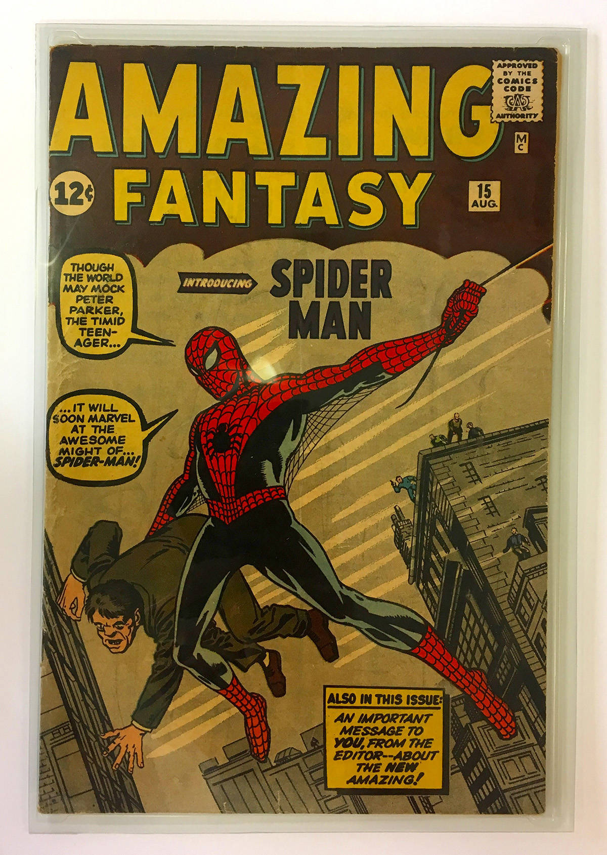 This first edition of the Amazing Fantasy #15 printed in 1962 is written by Stan Lee and illustrated by Steve Ditko, with a cover design by Jack Kirby. It introduces Peter Parker and Spider-Man to the Marvel Universe. This comic book could be worth up to $1 million. (Photo courtesy of Gareth Gaudin)